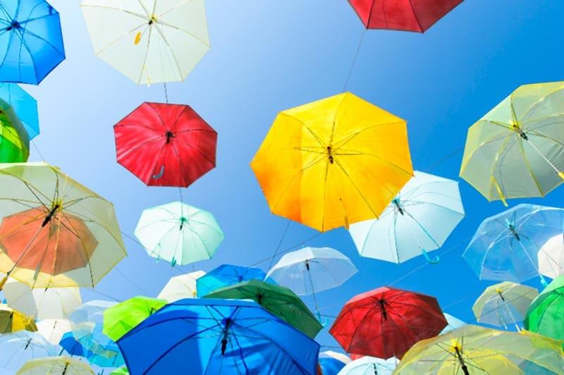 colourful umbrellas in sky