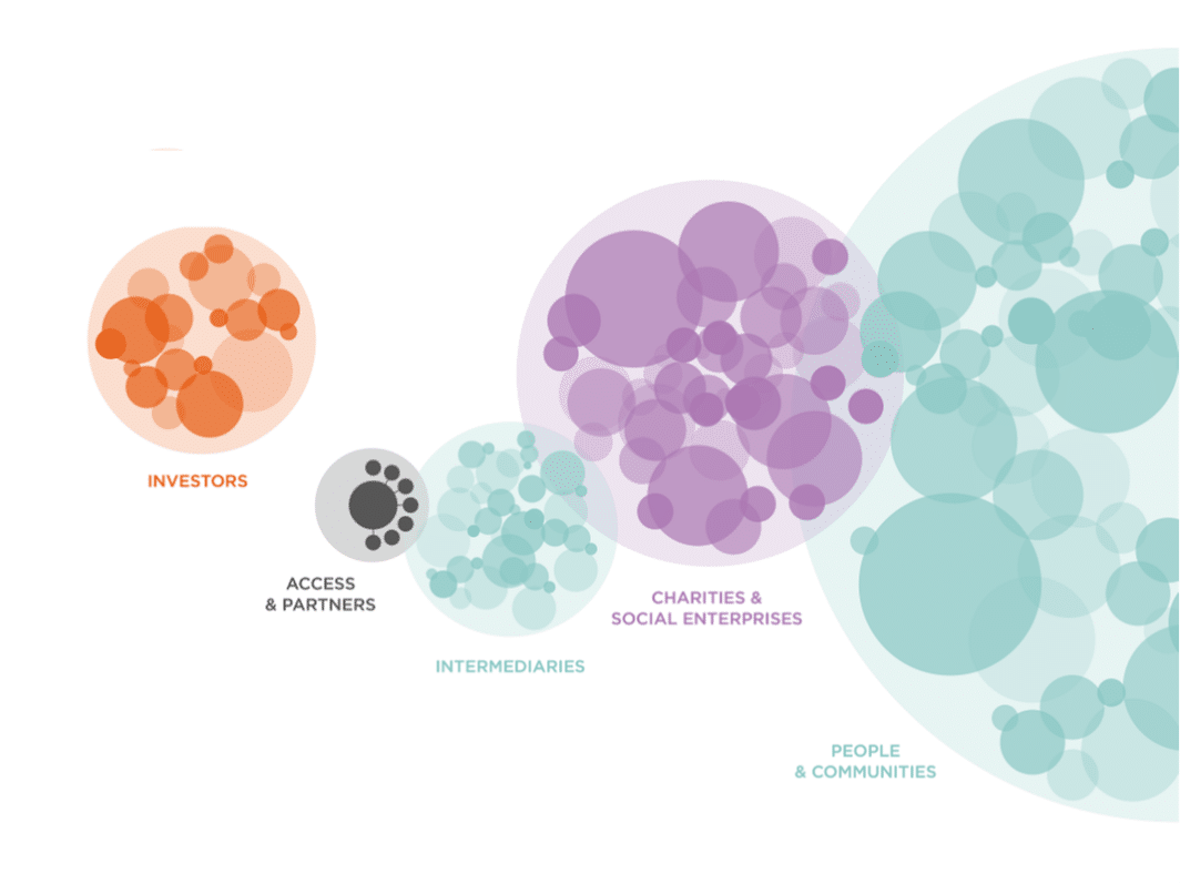 A diagram showing Access as a small bubble next to other larger bubbles, marked 'Social Investors, Intermediaries, Charities and Social Enterprises and People and Communities